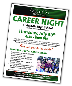 Arcadia Career Night Poster