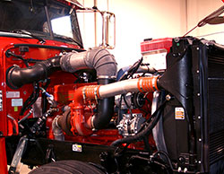 Red Diesel Truck Engine