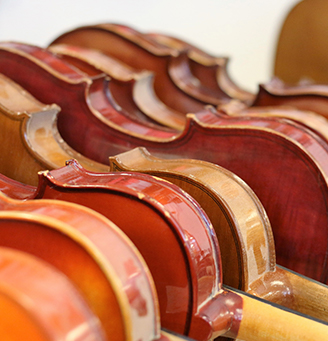 Several violins set in a row